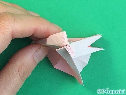 折り紙で立体的なコスモスの折り方手順56