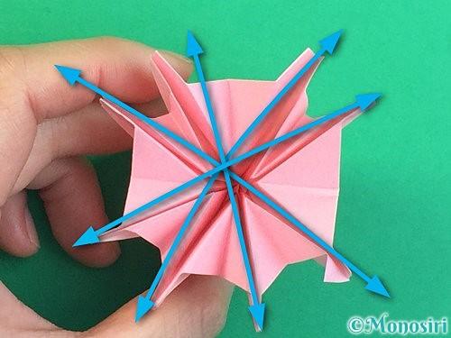 折り紙で立体的なコスモスの折り方手順60