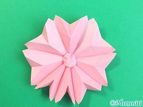 折り紙で立体的なコスモスの折り方手順62