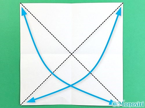 折り紙でコスモスの折り方手順3
