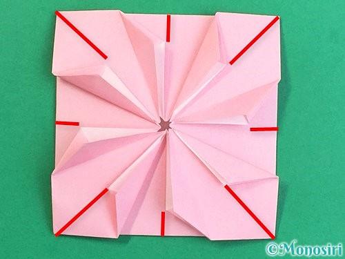 折り紙でコスモスの折り方手順43