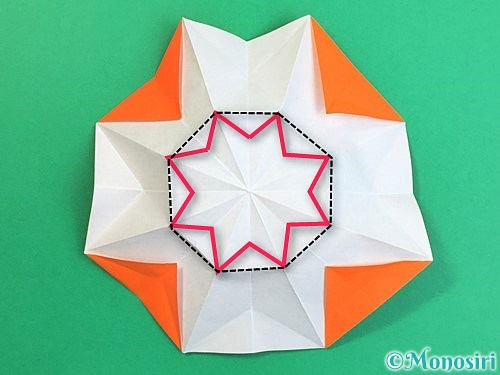 折り紙で立体的なガーベラの折り方手順31