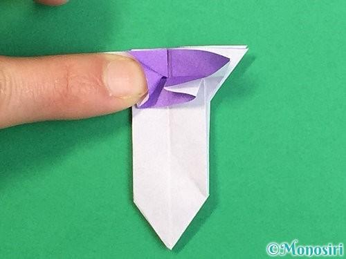 折り紙で立体的なリンドウの折り方手順33