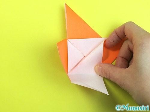 折り紙で立体的な柿の折り方手順19