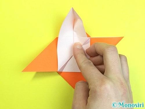 折り紙で立体的な柿の折り方手順31