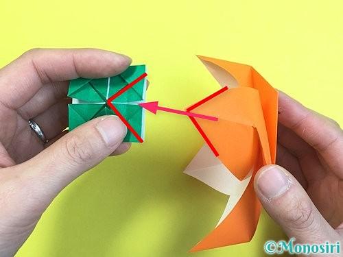 折り紙で立体的な柿の折り方手順58