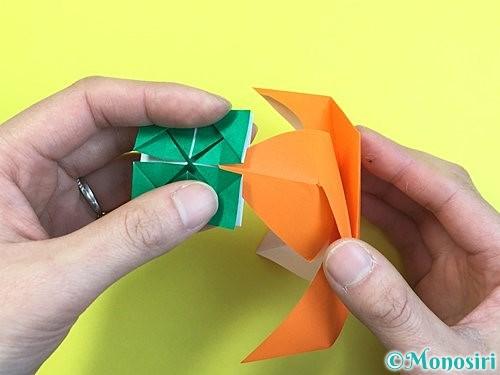 折り紙で立体的な柿の折り方手順59