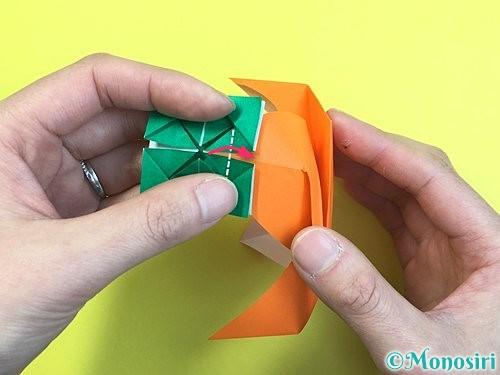 折り紙で立体的な柿の折り方手順61
