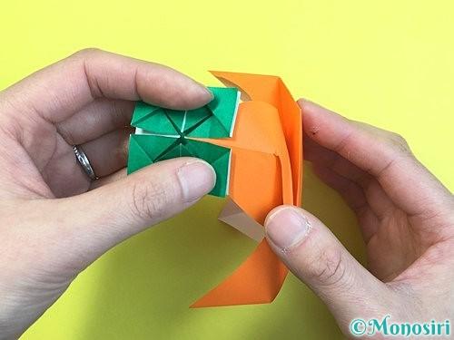 折り紙で立体的な柿の折り方手順60