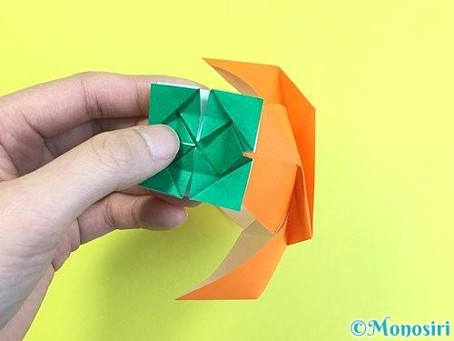 折り紙で立体的な柿の折り方手順62