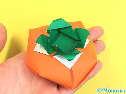 折り紙で立体的な柿の折り方手順67